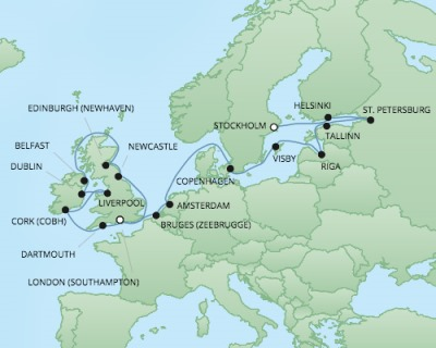 Just Regent Cruises Cruises RSSC Regent Seven Explorer Map Detail Stockholm, Sweden to Southampton, United Kingdom August 31 September 22 2017 - 22 Days