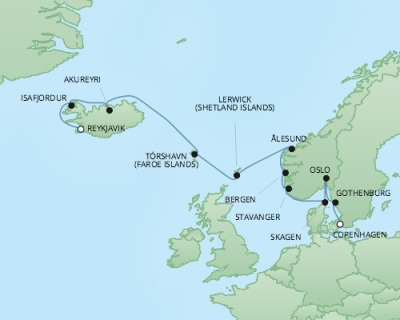 Just Regent Seven Seas Cruises Cruises RSSC Regent Seven Explorer Map Detail Reykjavík, Iceland to Copenhagen, Denmark August 9-21 2024 - 12 Days