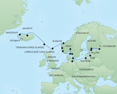 Just Regent Cruises Cruises RSSC Regent Seven Explorer Map Detail Reykjavík, Iceland to Stockholm, Sweden August 9-31 2017 - 22 Days