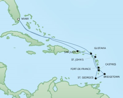 Just Regent Cruises Cruises RSSC Regent Seven Explorer Map Detail Miami, FL, United States to Miami, FL, United States December 8-20 2024 - 12 Days