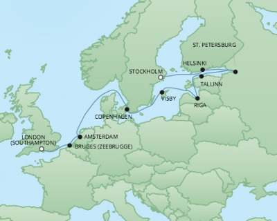 Just Regent Cruises Cruises RSSC Regent Seven Explorer Map Detail Stockholm, Sweden to Southampton, United Kingdom July 13-25 2017 - 12 Days