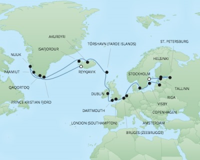 Cruises RSSC Regent Seven Explorer Map Detail Stockholm, Sweden to Reykjavík, Iceland July 13 August 9 2017 - 28 Days