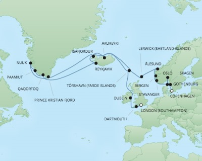 Cruises RSSC Regent Seven Explorer Map Detail Southampton, United Kingdom to Copenhagen, Denmark July 25 August 21 2017 - 27 Days
