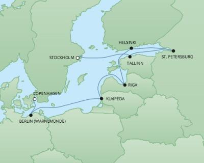 Just Regent Cruises Cruises RSSC Regent Seven Explorer Map Detail Copenhagen, Denmark to Stockholm, Sweden July 3-13 2017 - 10 Days