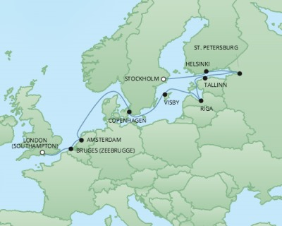 Just Regent Cruises Cruises RSSC Regent Seven Explorer Map Detail Southampton, United Kingdom to Stockholm, Sweden June 14-26 2017 - 12 Days
