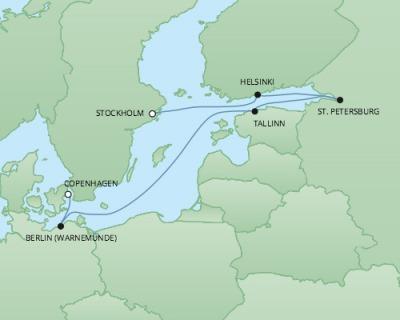 Just Regent Cruises Cruises RSSC Regent Seven Explorer Map Detail Stockholm, Sweden to Copenhagen, Denmark June 26 July 3 2017 - 8 Days