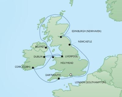 Just Regent Cruises Cruises RSSC Regent Seven Explorer Map Detail Southampton, United Kingdom to Southampton, United Kingdom June 3-14 2017 - 11 Days