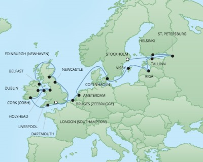 Just Regent Cruises Cruises RSSC Regent Seven Explorer Map Detail Southampton, United Kingdom to Stockholm, Sweden June 3-26 2017 - 23 Days