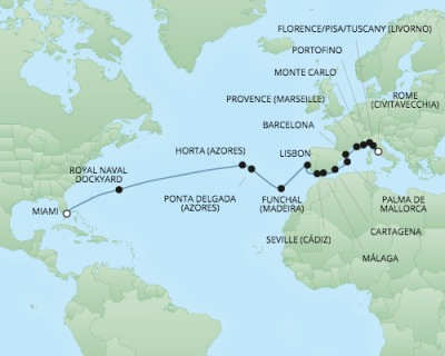 Cruises RSSC Regent Seven Explorer Map Detail Civitavecchia, Italy to Miami, FL, United States November 12 December 8 2017 - 26 Days
