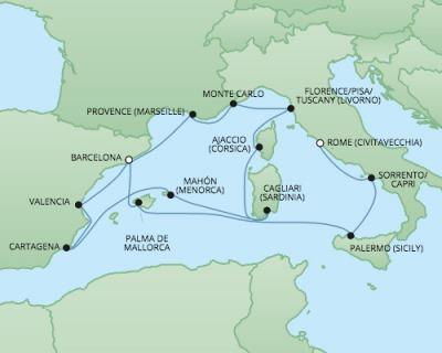 Just Regent Seven Seas Cruises Cruises RSSC Regent Seven Explorer Map Detail Civitavecchia, Italy to Barcelona, Spain October 21 November 4 2024 - 14 Days