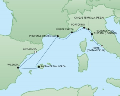 Cruises RSSC Regent Seven Explorer Map Detail Barcelona, Spain to Civitavecchia, Italy November 4-12 2017 - 8 Days