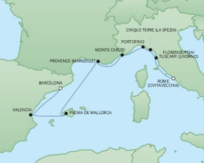 Just Regent Cruises Cruises RSSC Regent Seven Explorer Map Detail Barcelona, Spain to Civitavecchia, Italy November 4-12 2017 - 8 Days