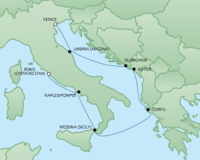 Cruises RSSC Regent Seven Explorer Map Detail Venice, Italy to Civitavecchia, Italy October 14-21 2017 - 7 Days