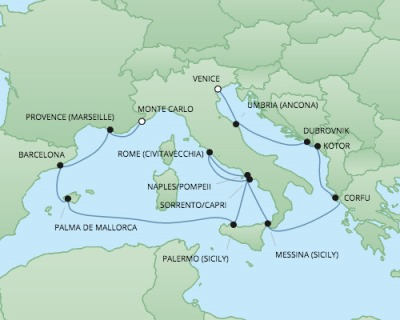 Just Regent Seven Seas Cruises Cruises RSSC Regent Seven Explorer Map Detail Venice, Italy to Monte Carlo, Monaco October 14-28 2024 - 14 Days