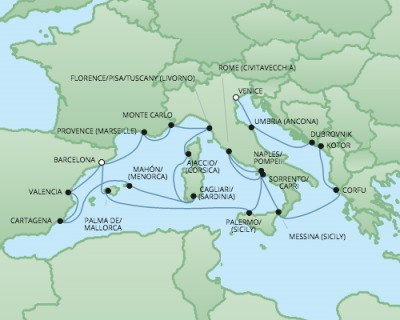 Just Regent Cruises Cruises RSSC Regent Seven Explorer Map Detail Venice, Italy to Barcelona, Spain October 14 November 4 2024 - 21 Days