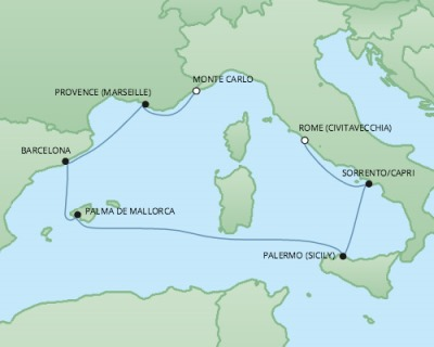 Just Regent Cruises Cruises RSSC Regent Seven Explorer Map Detail Civitavecchia, Italy to Monte Carlo, Monaco October 21-28 2024 - 7 Days