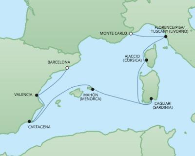 Just Regent Seven Seas Cruises Cruises RSSC Regent Seven Explorer Map Detail Monte Carlo, Monaco to Barcelona, Spain October 28 November 4 2024 - 7 Days
