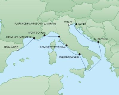 Just Regent Seven Seas Cruises Cruises RSSC Regent Seven Explorer Map Detail Barcelona, Spain to Venice, Italy October 4-14 2024 - 10 Days