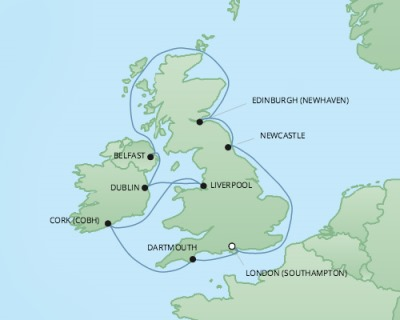 Cruises RSSC Regent Seven Explorer Map Detail Southampton, United Kingdom to Southampton, United Kingdom September 12-22 2017 - 10 Days
