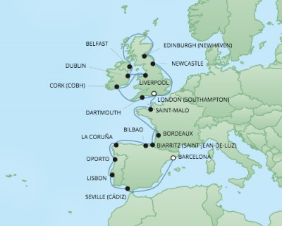 Just Regent Cruises Cruises RSSC Regent Seven Explorer Map Detail Southampton, United Kingdom to Barcelona, Spain September 12 October 4 2017 - 22 Days