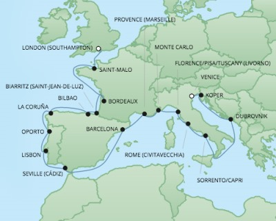 Cruises RSSC Regent Seven Explorer Map Detail Southampton, United Kingdom to Venice, Italy September 22 October 14 2017 - 22 Days