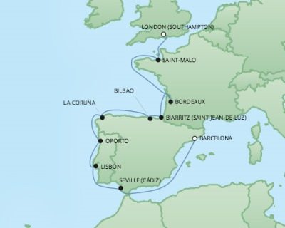 Just Regent Cruises Cruises RSSC Regent Seven Explorer Map Detail Southampton, United Kingdom to Barcelona, Spain September 22 October 4 2017 - 12 Days
