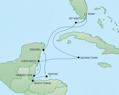 Regent/Radisson Luxury Cruises RSSC Regent Seven Explorer Map Detail Miami, FL, United States to Miami, FL, United States February 9-19 2022 - 10 Days