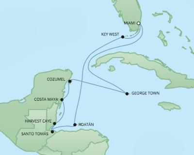 Regent/Radisson Luxury Cruises RSSC Regent Seven Explorer Map Detail Miami, FL, United States to Miami, FL, United States January 20-30 2018 - 10 Days