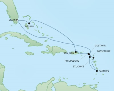 Regent/Radisson Luxury Cruises RSSC Regent Seven Explorer Map Detail Miami, FL, United States to Miami, FL, United States January 3-14 2018 - 11 Days