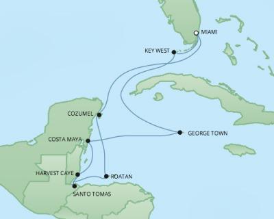 Regent/Radisson Luxury Cruises RSSC Regent Seven Explorer Map Detail Miami, FL, United States to Miami, FL, United States March 1-11 2018 - 10 Days