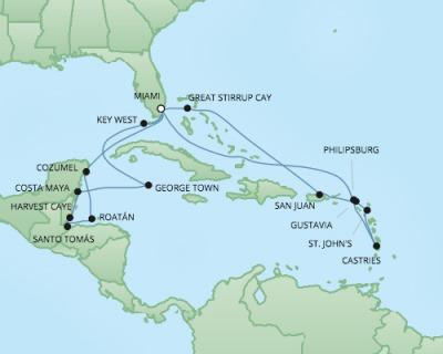 Just Regent Cruises Cruises RSSC Regent Seven Explorer Map Detail Miami, FL, United States to Miami, FL, United States March 1-21 2020 - 20 Days