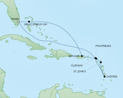 Just Regent Cruises Cruises RSSC Regent Seven Explorer Map Detail Miami, FL, United States to Miami, FL, United States March 11-21 2020 - 10 Days