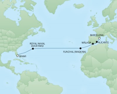 Cruises RSSC Regent Seven Explorer Map Detail Miami, FL, United States to Barcelona, Spain March 21 April 4 2018 - 14 Days