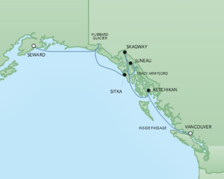 Cruises RSSC Regent Seven Mariner Map Detail Anchorage (Seward), AK to Vancouver, Canada August 16-23 2017 - 7 Days