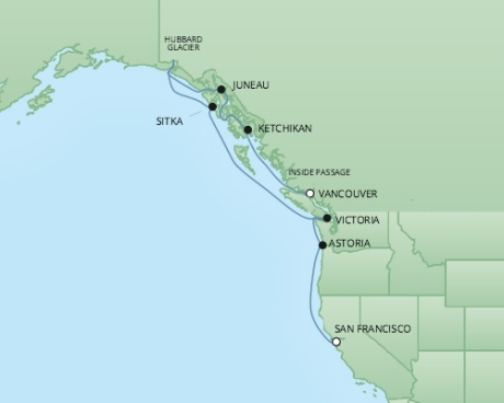 Cruises RSSC Regent Seven Mariner Map Detail Vancouver, Canada to San Francisco, CA, United States August 30 September 9 2017 - 10 Days
