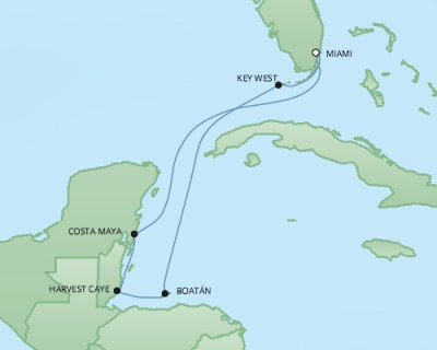 Cruises RSSC Regent Seven Mariner Map Detail Miami, FL, United States to Miami, FL, United States December 29 2017 January 5 2018 - 7 Days
