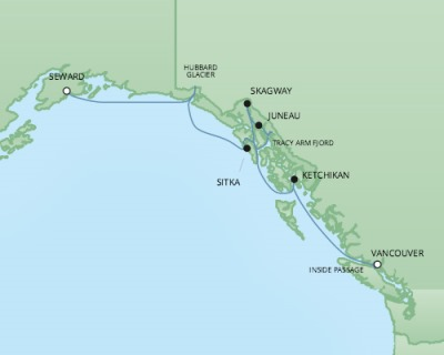 Cruises RSSC Regent Seven Mariner Map Detail Seward, AK, United States to Vancouver, Canada July 5-12 2017 - 7 Days