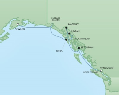 Cruises RSSC Regent Seven Mariner Map Detail Seward, AK, United States to Vancouver, Canada June 21-28 2017 - 7 Days