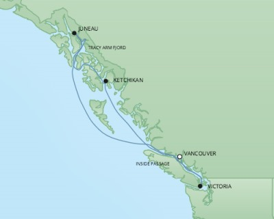 Cruises RSSC Regent Seven Seas Mariner Map Detail Vancouver, Canada to Vancouver, Canada June 7-14 2017 - 7 Days