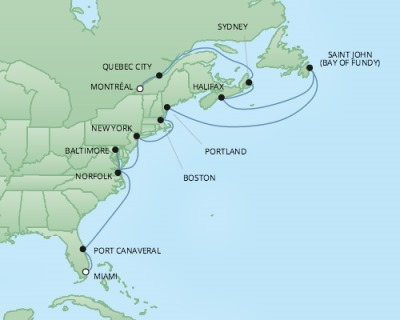 Cruises RSSC Regent Seven Mariner Map Detail Montreal, Canada to Miami, FL, United States October 27 November 10 2017 - 14 Days