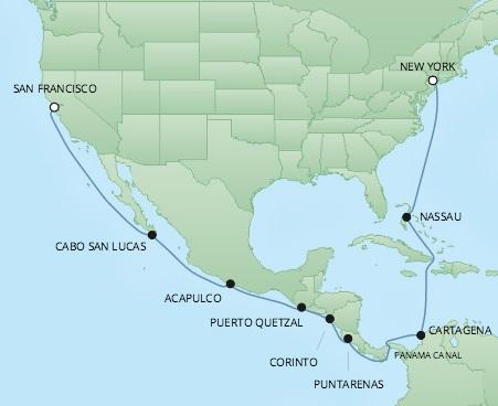 Regent/Radisson Luxury Cruises RSSC Regent Seven Mariner Map Detail San Francisco, CA, United States to New York, NY, United States September 9-27 2022 - 18 Days