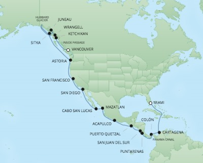 Cruises RSSC Regent Seven Mariner Map Detail Miami, FL, United States to Vancouver, Canada April 18 May 16 2018 - 29 Days