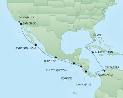 Cruises RSSC Regent Seven Mariner Map Detail Los Angeles, CA, United States to Miami, FL, United States April 2-18 2018 - 17 Days