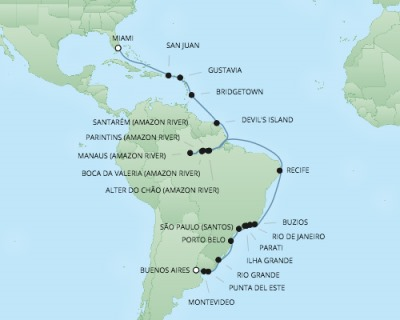 Regent/Radisson Luxury Cruises RSSC Regent Seven Mariner Map Detail Buenos Aires, Argentina to Miami, FL, United States February 13 March 17 2022 - 33 Days
