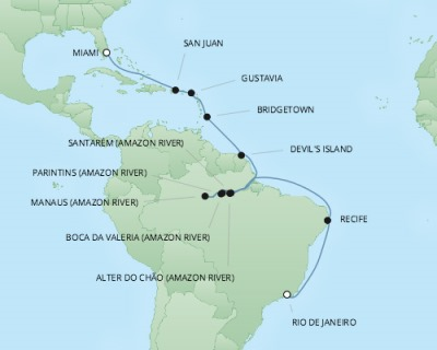 REGENT Cruises RSSC Regent Seven Mariner Map Detail Rio De Janeiro, Brazil to Miami, FL, United States February 25 March 17 2018 - 21 Days