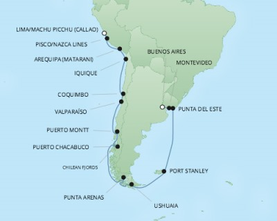 REGENT Cruises RSSC Regent Seven Mariner Map Detail Callao, Peru to Buenos Aires, Argentina January 23 February 13 2018 - 22 Days