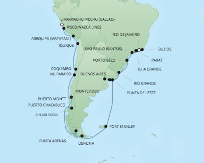 REGENT Cruises RSSC Regent Seven Mariner Map Detail Callao, Peru to Rio De Janeiro, Brazil January 23 February 25 2021 - 34 Days