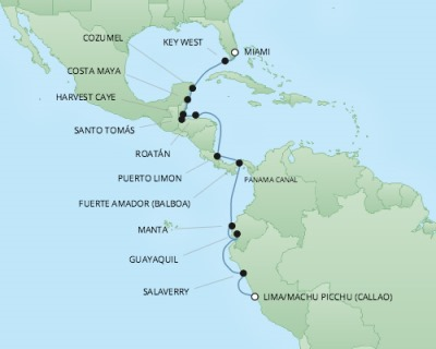Regent/Radisson Luxury Cruises RSSC Regent Seven Mariner Map Detail Miami, FL, United States to Callao, Peru January 5-23 2018 - 19 Days