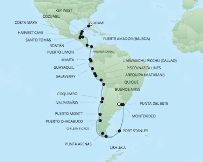 Cruises RSSC Regent Seven Mariner Map Detail Miami, FL, United States to Buenos Aires, Argentina January 5 February 13 2018 - 40 Days