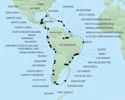 Regent/Radisson Luxury Cruises RSSC Regent Seven Mariner Map Detail Miami, FL, United States to Miami, FL, United States January 5 March 17 2022 - 72 Days